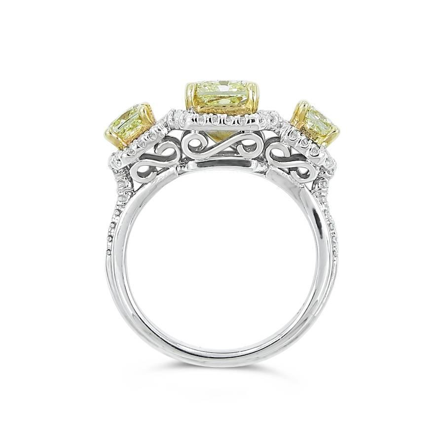 Fancy Yellow Diamond 3 Stone Engagement Ring For Sale at 1stdibs