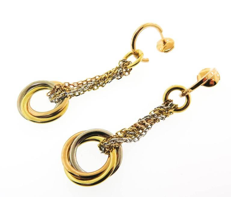 Women's or Men's Cartier Trinity Gold Drop Earrings For Sale