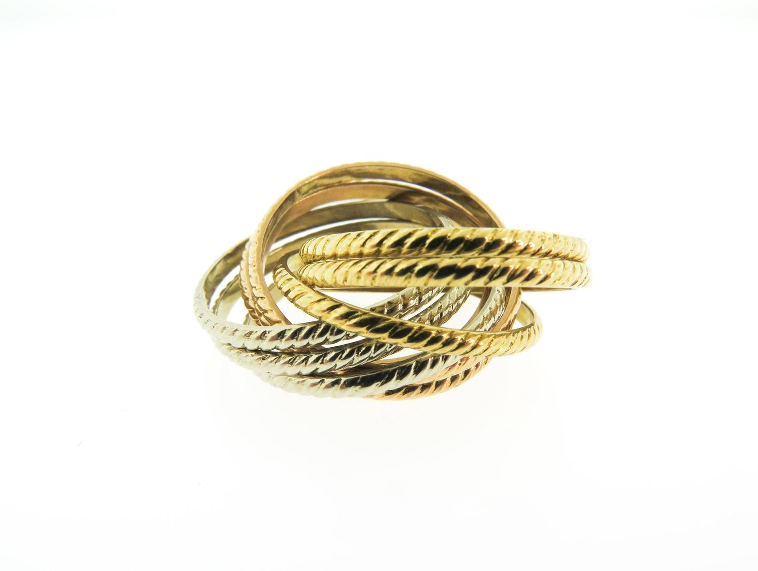tricolor gold rolling band ring at 1stdibs