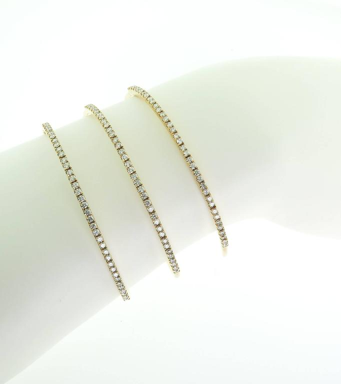 Contemporary Spiral Diamond Gold Bracelet For Sale