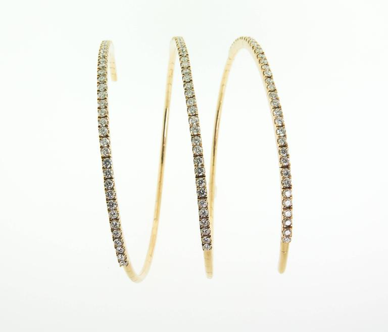 Spiral Diamond Gold Bracelet In As New Condition For Sale In Greenwich, CT
