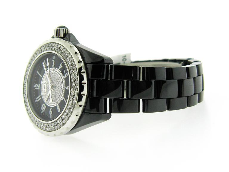 Chanel Black Ceramic Stainless Steel Bezel Quartz ...