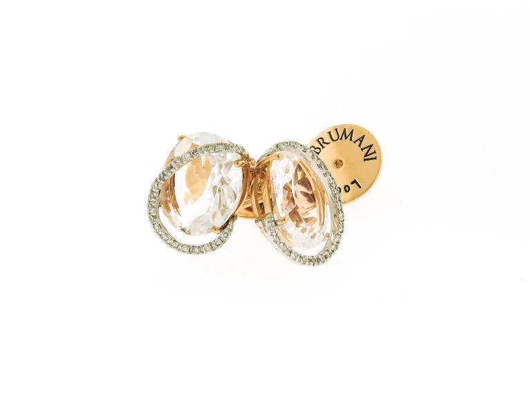 Modern Rose Quartz and Diamond Stud Earrings by Brumani For Sale