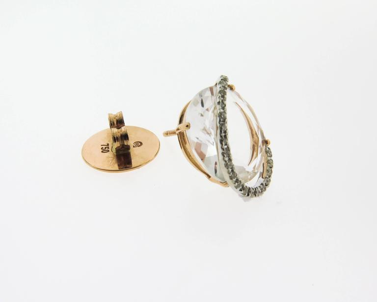 Women's Rose Quartz and Diamond Stud Earrings by Brumani For Sale