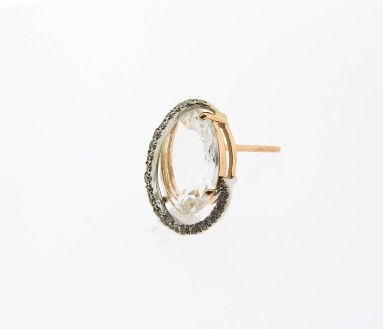 Rose Quartz and Diamond Stud Earrings by Brumani For Sale 1