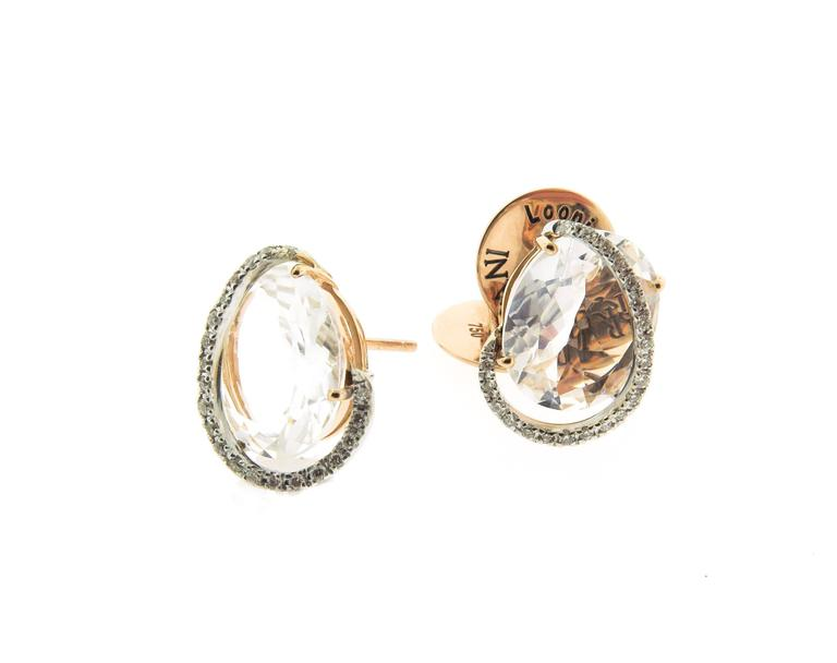 Brumani highlights a bounty of Brazilian gemstones with a unique festive spirit through the delicate pinks of faceted Rose Quartz in the Looping Shine Collection. This Stud Earrings are crafted in 18K soft color rose gold with Diamond accents to