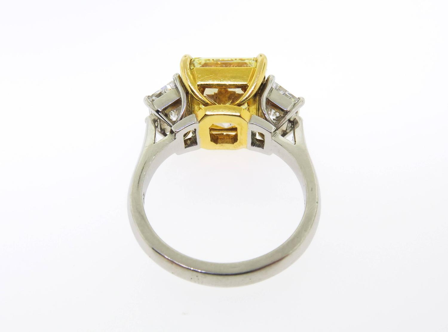 Fancy Yellow Diamond Platinum Engagement Ring For Sale at 1stdibs