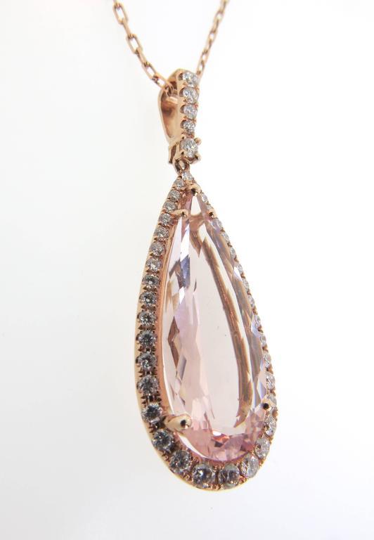 8.72 Carat Pink Morganite Diamond Gold Pendant 2