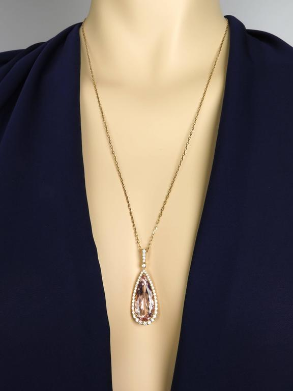 8.72 Carat Pink Morganite Diamond Gold Pendant 7