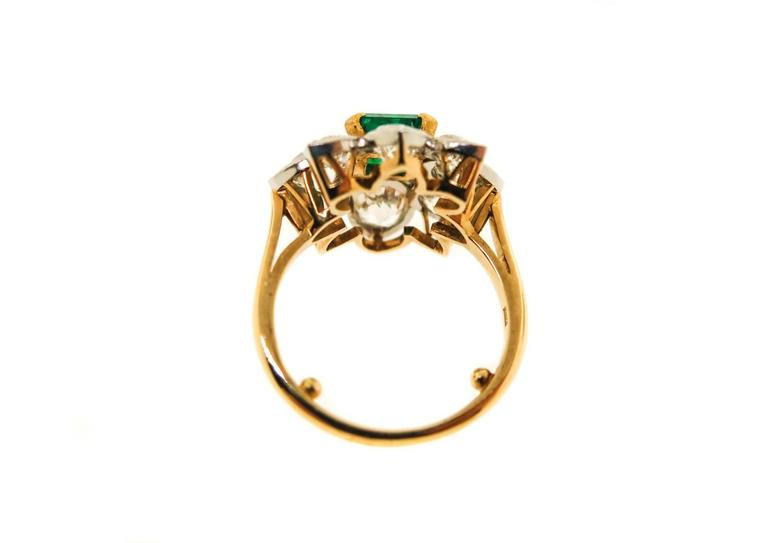 Emerald Diamond Gold Platinum Ring In Excellent Condition For Sale In Greenwich, CT