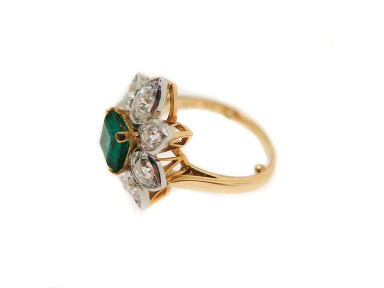Artist Emerald Diamond Gold Platinum Ring For Sale