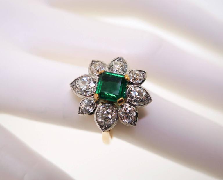 Emerald Diamond Gold Platinum Ring For Sale 1