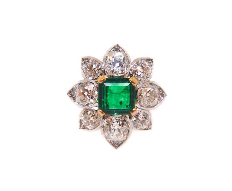 Women's Emerald Diamond Gold Platinum Ring For Sale