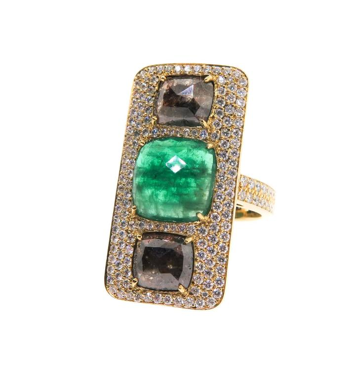 lauren k emerald raw diamonds gold ring for sale at 1stdibs