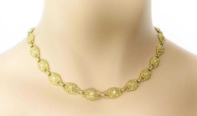 Judith Ripka Diamond Gold Necklace For Sale 1