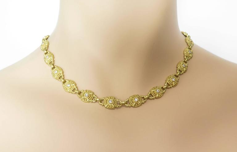 Judith Ripka Diamond Gold Necklace For Sale 2