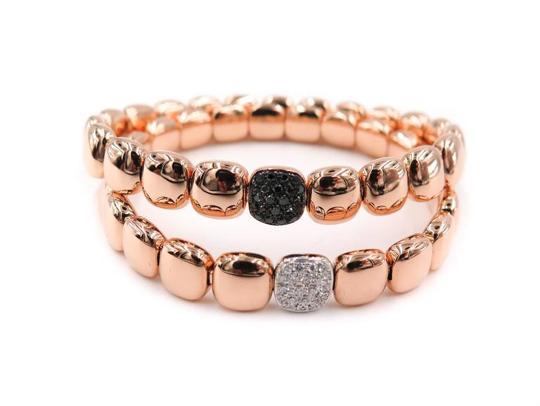 Modern black Diamond Rose Gold Bracelet For Sale