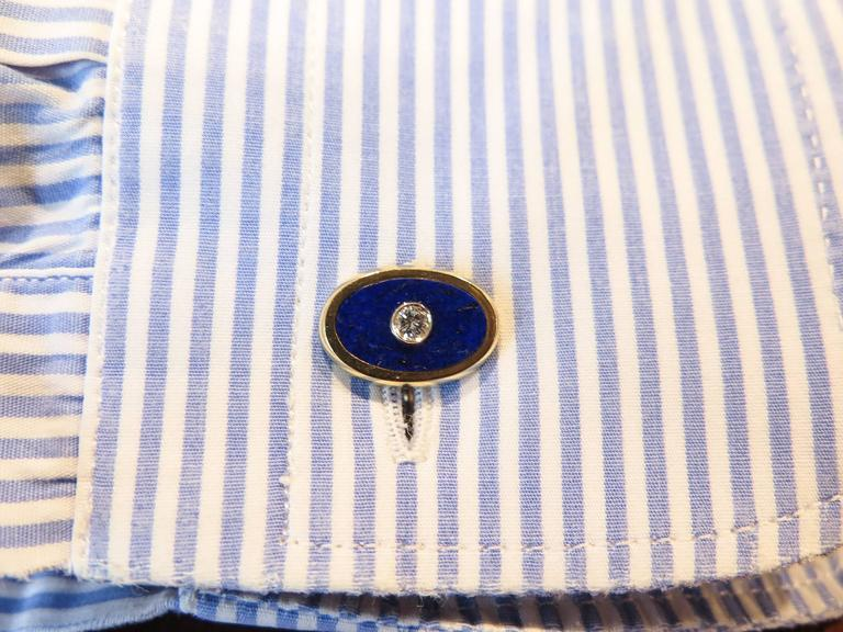 Women's or Men's 18 Karat Lapis and Diamond Cartier Cufflinks For Sale