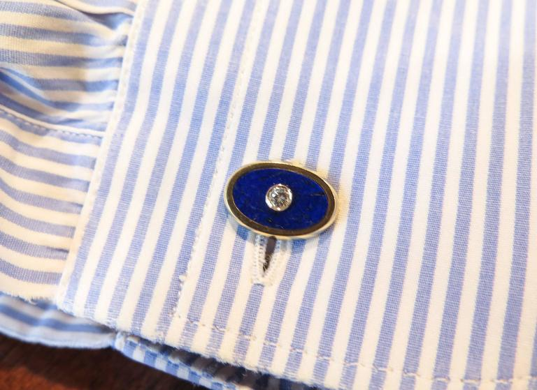 18 Karat Lapis and Diamond Cartier Cufflinks For Sale 1