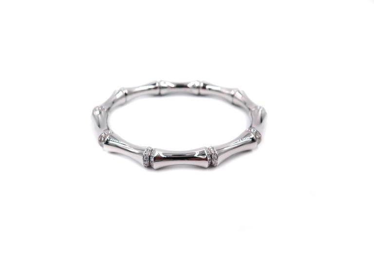e694ef51d9e23 Gucci Bamboo Diamond White Gold Bangle Bracelet
