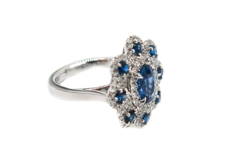 Artist Sapphire Diamond Flower white gold Ring For Sale