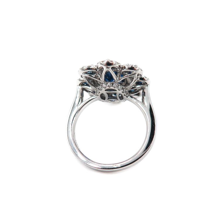 Women's Sapphire Diamond Flower white gold Ring For Sale
