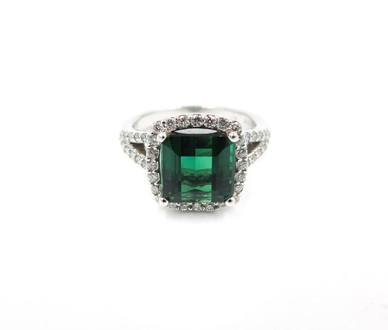 Green Tourmaline Diamond White Gold Ring 3