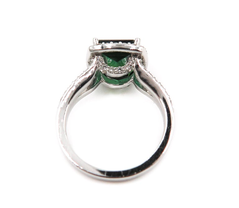 Green Tourmaline Diamond White Gold Ring For Sale 3