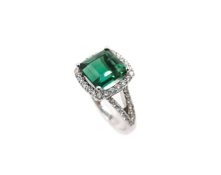 Green Tourmaline Diamond White Gold Ring 7