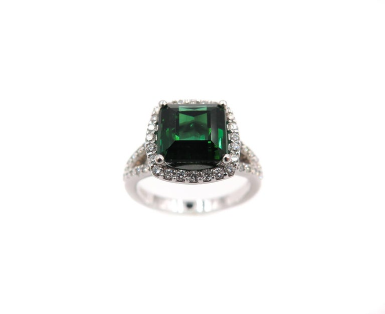 Green Tourmaline Diamond White Gold Ring 6