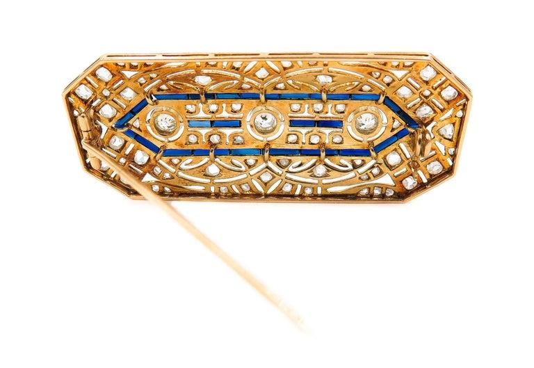 Art Deco Sapphire Diamond Brooch For Sale 1