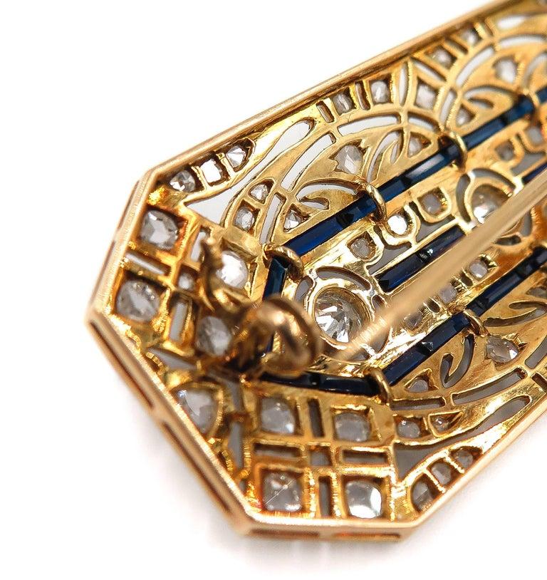 Art Deco Sapphire Diamond Brooch For Sale 3