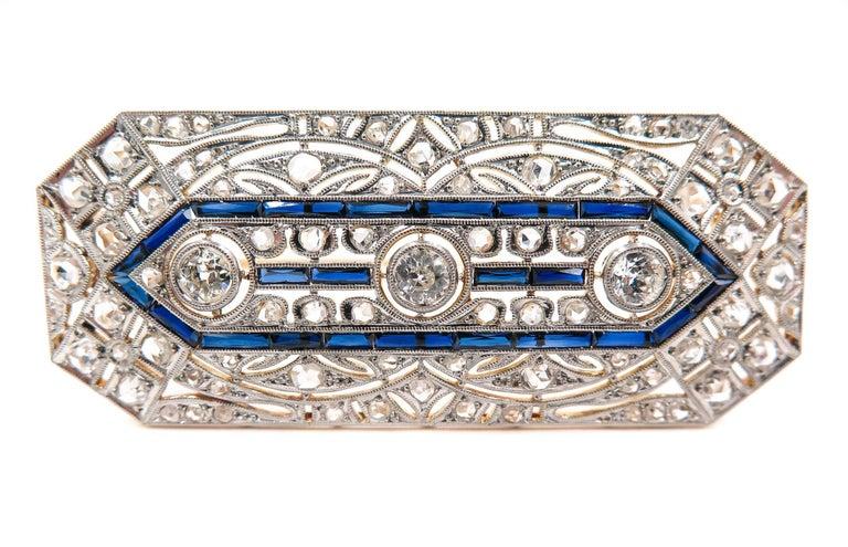 Women's Art Deco Sapphire Diamond Brooch For Sale