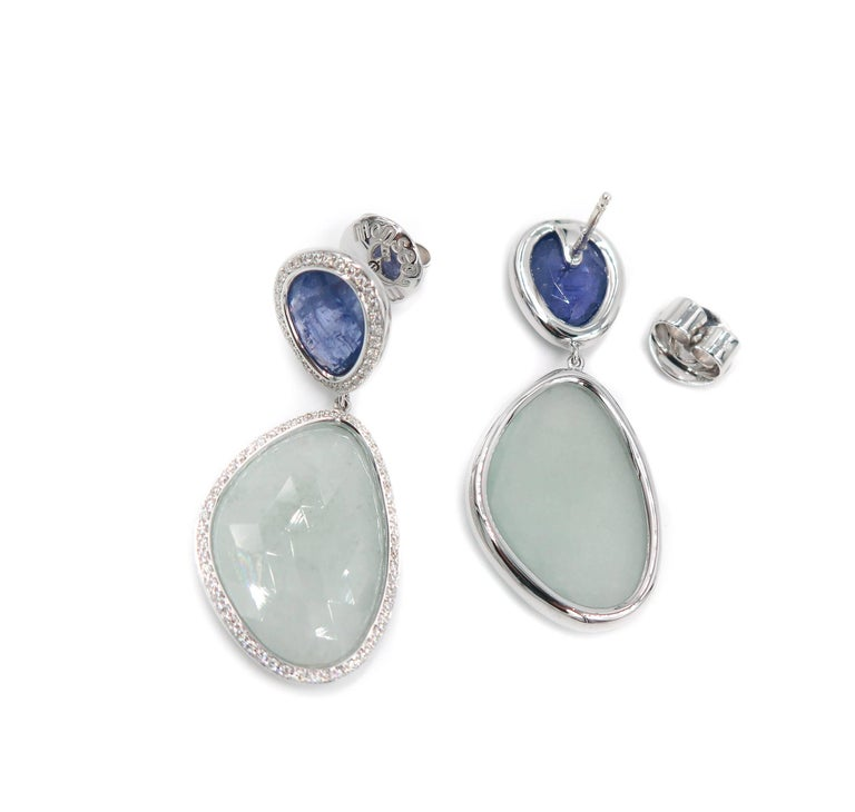 aquamarine and tanzanite white gold drop earrings for sale