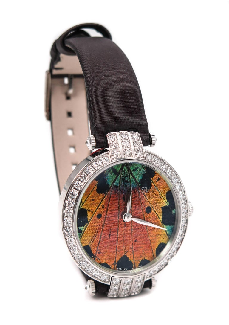 Harry Winston Ladies White Gold Precious Butterfly Automatic Wristwatch In New Condition For Sale In Greenwich, CT