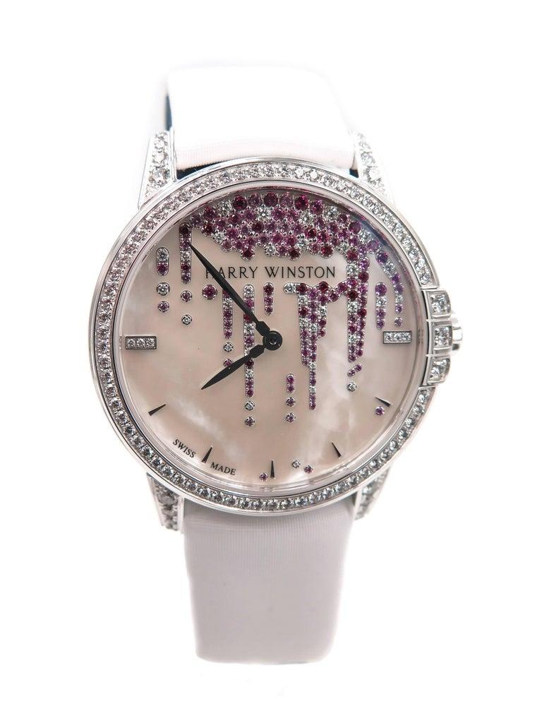 Women's Harry Winston Ladies White Gold Midnight Diamond Stalactites Auto Wristwatch For Sale