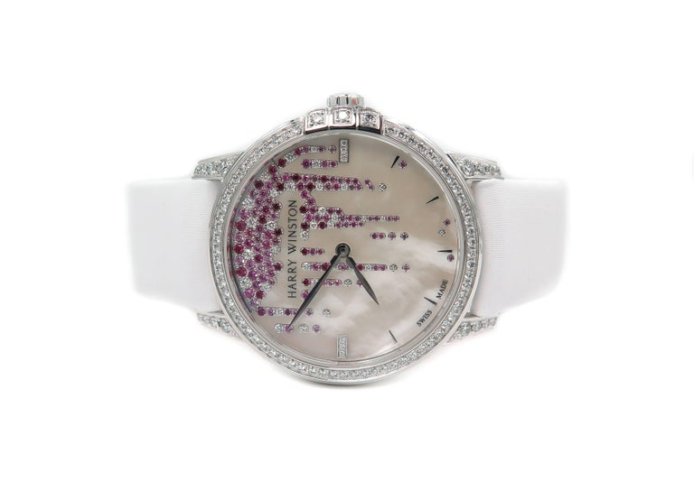 Harry Winston Ladies White Gold Midnight Diamond Stalactites Auto Wristwatch In As New Condition For Sale In Greenwich, CT