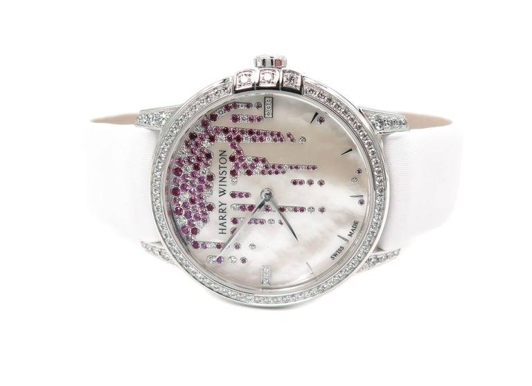 Harry Winston Ladies White Gold Midnight Diamond Stalactites Auto Wristwatch For Sale 2