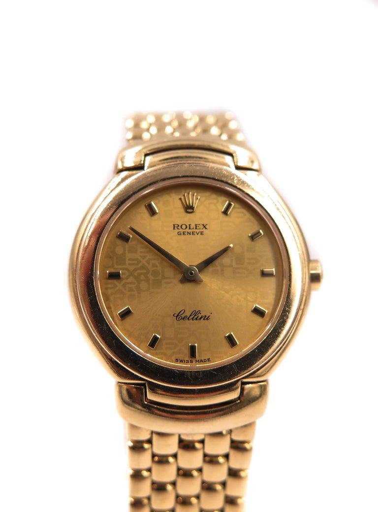 rolex yellow gold cellini quartz wristwatch for