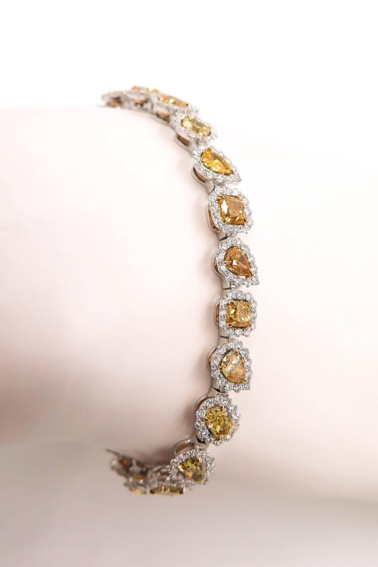 Halo Fancy Yellow Diamond White Gold Bracelet For Sale 2