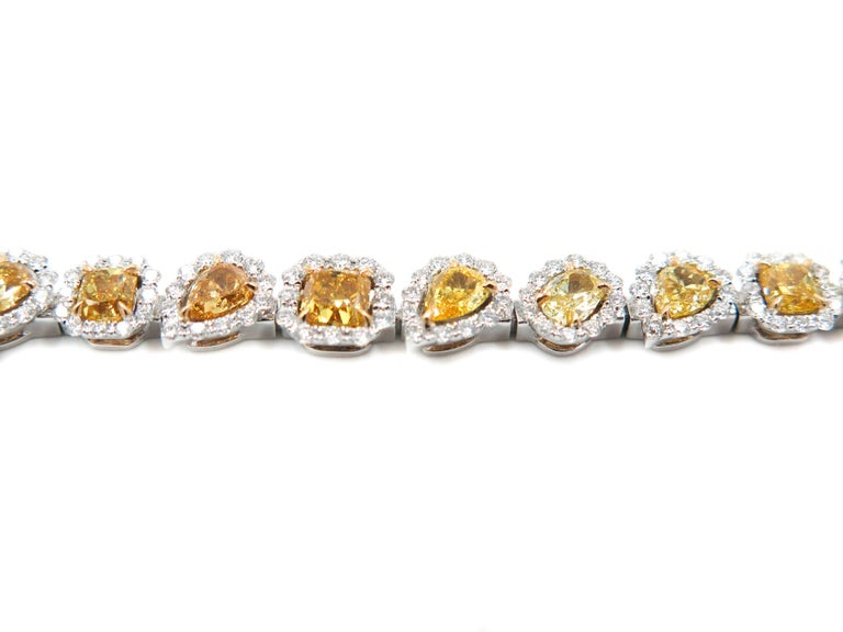 Neoclassical Halo Fancy Yellow Diamond White Gold Bracelet For Sale