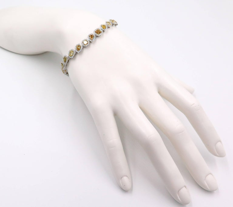 Halo Fancy Yellow Diamond White Gold Bracelet For Sale 1
