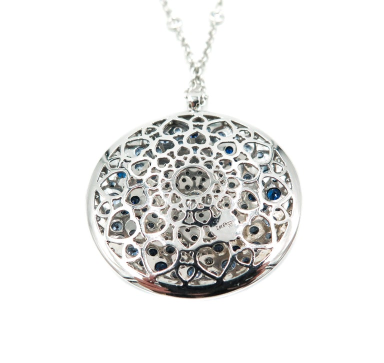 Round Multi-Color Sapphire and Diamond White Gold Pendant 5