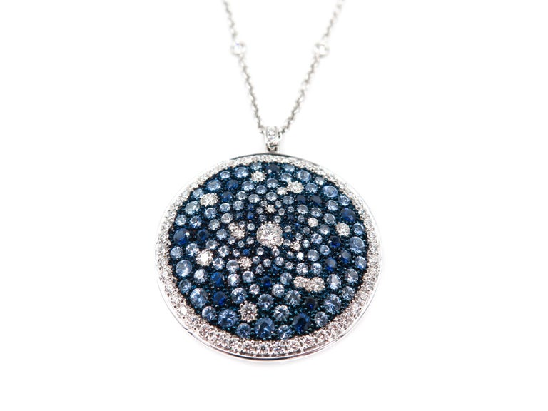 Round Multi-Color Sapphire and Diamond White Gold Pendant 4