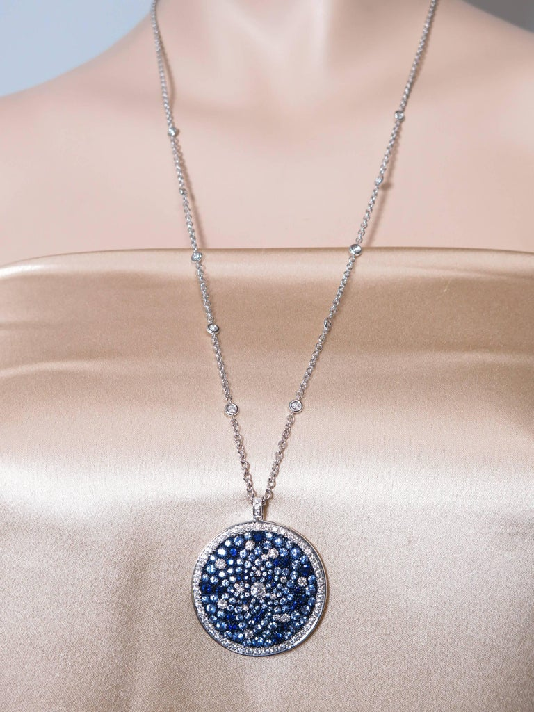 Round Multi-Color Sapphire and Diamond White Gold Pendant 7