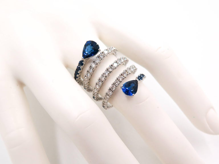 Sapphire and Diamond Spiral White Gold Ring For Sale 2