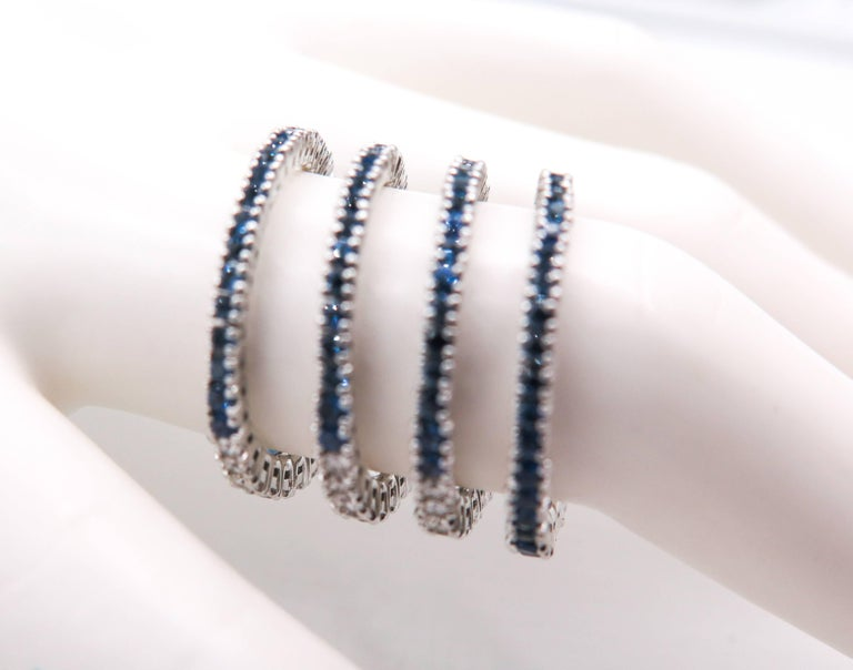 Sapphire and Diamond Spiral White Gold Ring For Sale 4