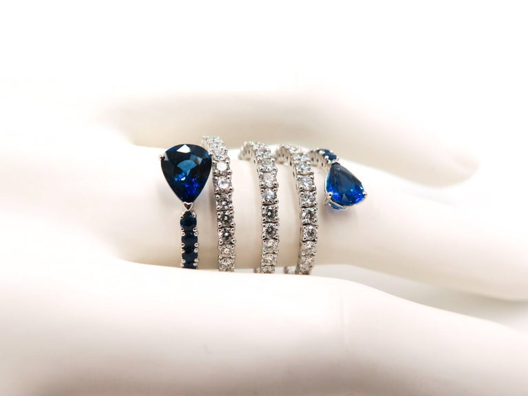 Sapphire and Diamond Spiral White Gold Ring For Sale 3