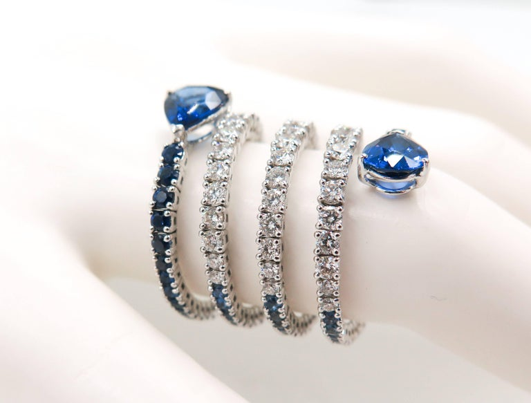 Sapphire and Diamond Spiral White Gold Ring For Sale 5