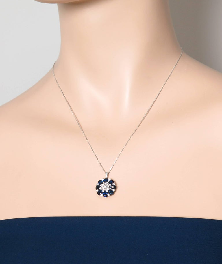 Sapphire and Diamond White Gold Pendant For Sale 1
